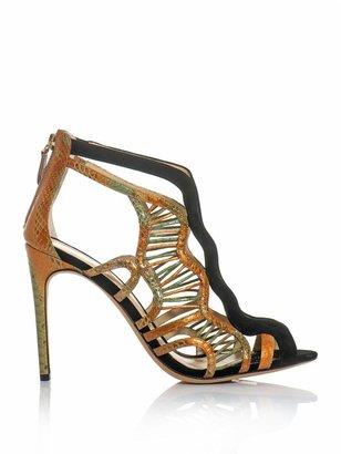 Alexandre Birman Watersnake and suede sandals