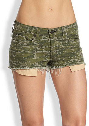 Rag and Bone Mila Camouflage-Print Stretch Denim Shorts