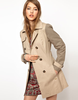 Pepe Jeans London Trench Coat With Contrast Sleeves