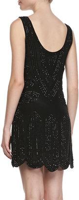 Phoebe Beaded Sleeveless Scalloped-Hem Dress