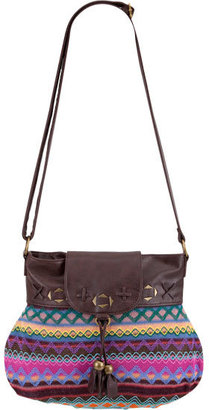 T-Shirt & Jeans Faux Leather Trim Hobo Bag