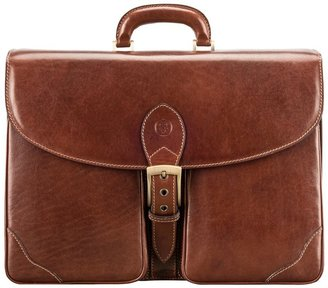 Maxwell Scott Bags Quality Italian Leather Mens Large 3-section Briefcase
