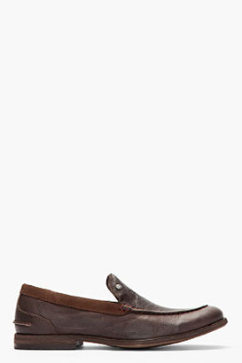 Diesel Dark Brown Leather On Chrom Loafers