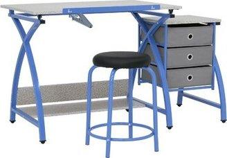 Studio Designs Center Comet Height Adjustable Drafting Table Frame Color: Blue, Top Color: Splatter Gray