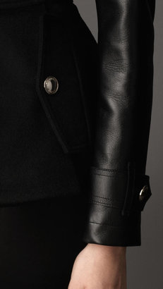 Burberry Leather Sleeve Duffle Jacket