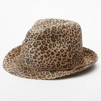 Apt. 9 leopard straw fedora