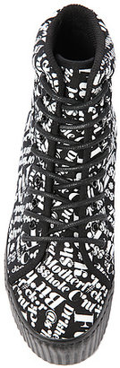 Jeffrey Campbell The Hiya Words Sneaker in Black with White Words