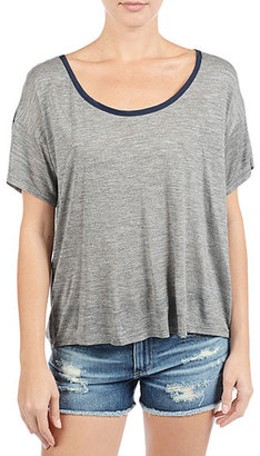 AG Jeans The Contrast Crop Tee - Heather Grey/Navy