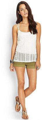 Forever 21 contemporary strappy crossback crochet cami