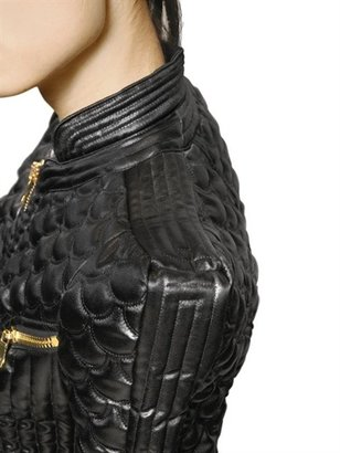 Balmain Quilted Techno Satin Perfecto Jacket