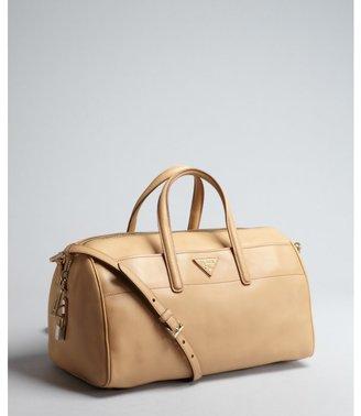 Prada tan leather small convertible satchel