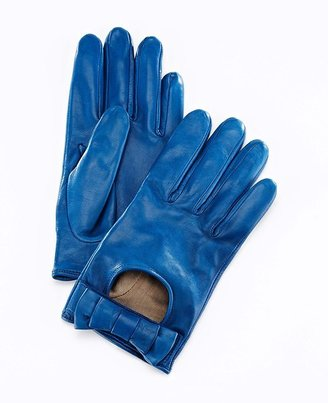 Kes Short Bow Leather Driving Gloves