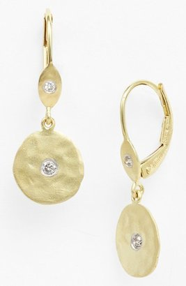 Women's Meirat 'Charmed' Diamond Hammered Drop Earrings $450 thestylecure.com