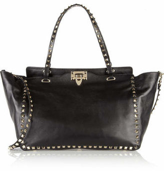 Valentino - The Rockstud Medium Leather Trapeze Bag - Black $2,595 thestylecure.com