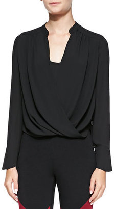 BCBGMAXAZRIA Jaklyn Drape-Front Blouse, Black $158 thestylecure.com