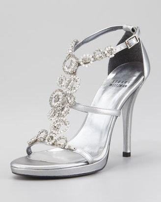 Stuart Weitzman Brillag Jewel-Front Evening Sandal