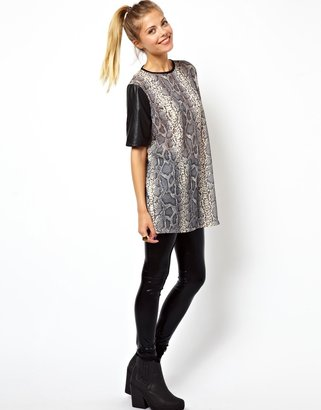 Asos Top in Snakeprint with Leather Look Sleeves