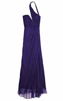 Alberta Ferretti Illusion Plunge Asymmetrical Halterneck Gown