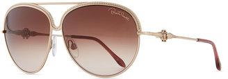Roberto Cavalli Logo-Temple Aviator Sunglasses, Golden