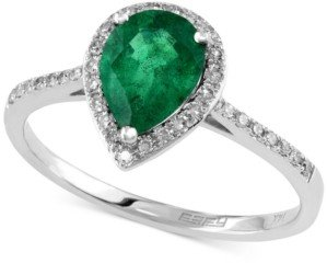 Effy Brasilica by Emerald (9/10 ct. t.w.) and Diamond (1/6 ct. t.w.) Pear-Shaped Ring in 14k White Gold, Created for Macy's