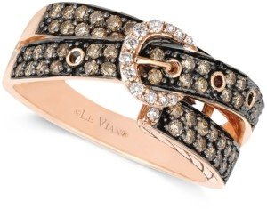LeVian Chocolate (5/8 ct. t.w.) and White Diamond (1/10 ct. t.w.) 2-Row Buckle Ring in 14k Rose Gold
