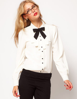 Asos Blouse With Folded Bib And Contrast Bow