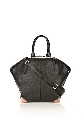 Rosegold Small Emile In Pebbled Black With