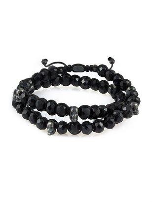 M. COHEN Black Spinel Wrap Bracelet With Silver Skulls