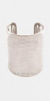 Silver Metal Wide Hammered Cuff Bracelets by ZAD
