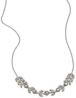 Sethi Couture 18k White Gold Cascading Leaf Diamond Necklace