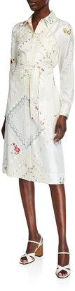 Tory Burch Handkerchief Printed Silk Shirt Dress