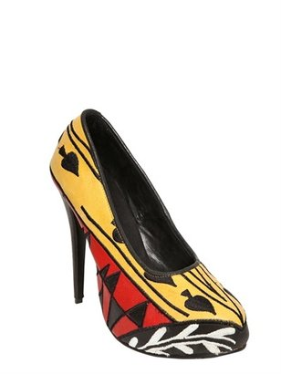 115mm Tarot Embroidered Leather Pumps
