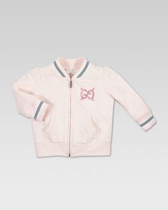 Gucci Trim Zip Jacket, Powder Pink