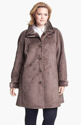 Gallery Stand Collar Faux Shearling Walking Coat (Plus Size)