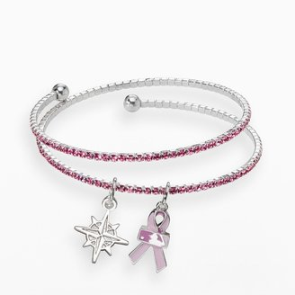 LogoArt Seattle Mariners Silver Tone Crystal Breast Cancer Awareness Charm Coil Bracelet