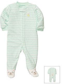 Carter's Baby Girls' Mint Striped Terry Princess Bear Footie
