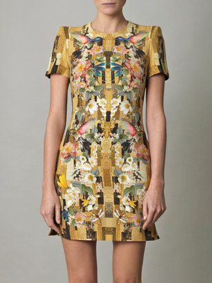 Alexander McQueen Hummingbird & geometric-print cady dress