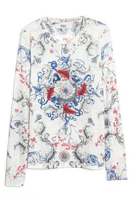 Prabal Gurung Baroque Print Long Sleeve Tee