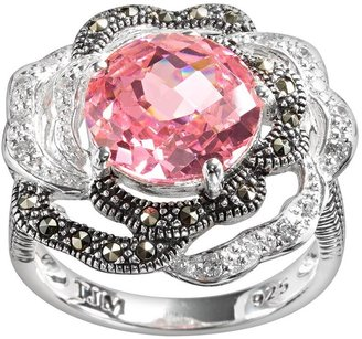 Lavish by TJM Sterling Silver Cubic Zirconia Flower Ring - Made with Swarovski Marcasite