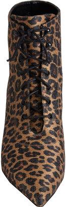 Saint Laurent Leopard-Print Point-Toe Ankle Booties