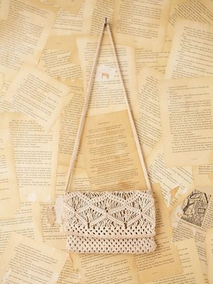 Free People Vintage Crochet Macrame Pouch Purse