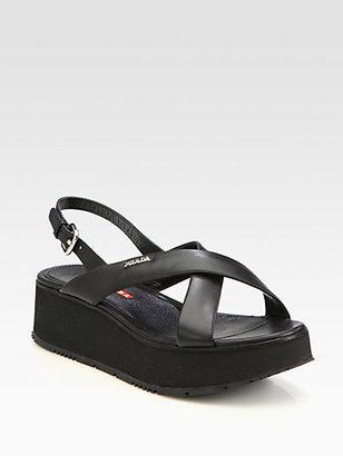 Prada Leather Crisscross Wedge Sandals