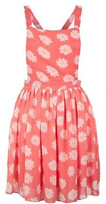 New Look Parisian Pink Floral Print Pinafore Dress