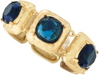 Kenneth Jay Lane Blue Faceted Golden Bracelet