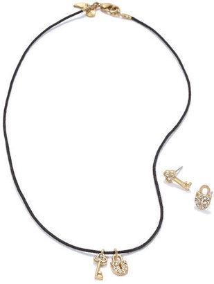 Rachel Roy Key and Lock Necklace and Earring Set