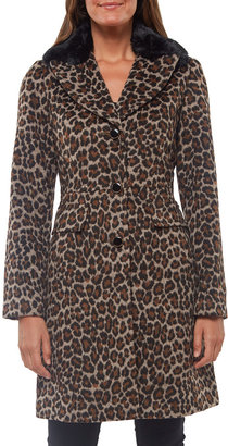 Kate Spade Leopard-Print Wool Coat With Faux-Fur Collar