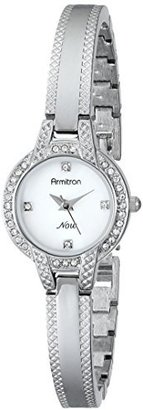 Armitron Women's 75/5219MPSV Swarovski Crystal Accented Silver-Tone Textured Bangle Watch $44.99 thestylecure.com