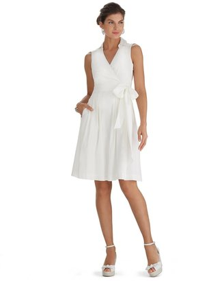 White House Black Market Sleeveless Fit & Flare Shirt White Dress