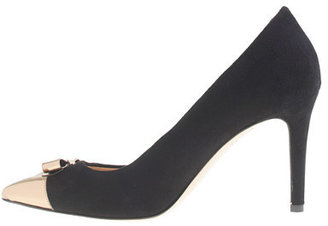 J.Crew Everly cap toe pumps with patent bow