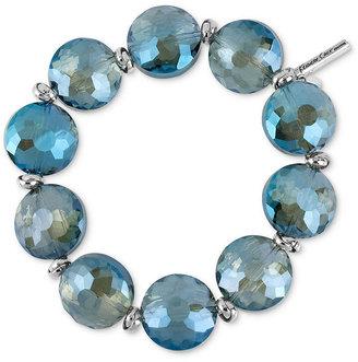 Kenneth Cole New York Bracelet, Silver-Tone Blue Faceted Bead Stretch Bracelet